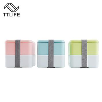 TTLIFE 2 Layer Lunch Bento Food Fruit Storage Container Portable Bento Box Food-safe Food Picnic Container for Children Gifts