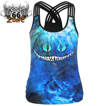 Cheshire Cat 3d Print Black Weaved Spaghetti Strap Women's Workout Tank Top