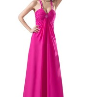 Lttdress Women's Halter Prom Gowns Long Evening Dresses Fuschia