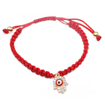 Red String handmade hamsa hand eye charm bracelet bring you lucky protect peaceful friendship turkish jewelry pulsera cuerda