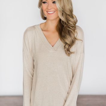 Simply Soft High Low Top~ Taupe