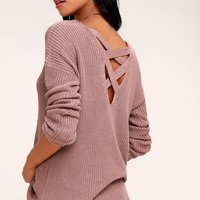 Laken Mauve Knit Backless Sweater