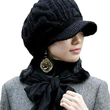 Slouchy Cabled Pattern Knit Beanie Crochet Rib Brim Newsboy Cap Hat Black