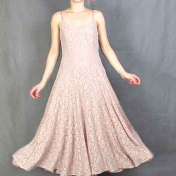 90s Grunge Pink Lace Maxi Dress Dusty Pink Sheer Lace Up Corset Back Full Skirt Spaghetti Strap Grunge Prom Dress Bridesmaid Formal Gown (M)