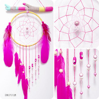 Summer Solstice Painted Driftwood Dream Catcher Mobile