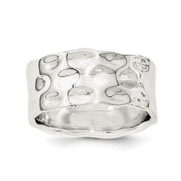 Sterling Silver Polished Hammered Ring
