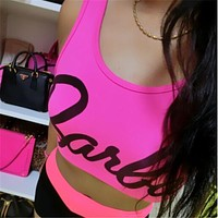 Sexy Women tank Tops Barbie Letter Printed Crop top Ladies Sleeveless Casual Fitness Fashion Tops Tee Ladies F10957