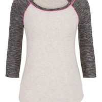 Neon Flecked Contrast Stitch Baseball Tee - White