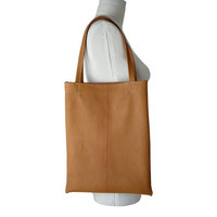 Everyday Soft Leather Tote Bag in  Goatskin Leather, Honey Tan, Peanutbutter, 1 in stock