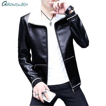 Grandwish Men Leather Jacket Fashion Autumn Motorcycle PU Leather Male Winter Bomber Jackets Outerwear Faux Leather Jacket,DA773
