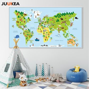 Cartoon Children World Travel Education Animals Map Backdrop Wall Poster Wall Art Canvas Print Painting Picture for Home Decor