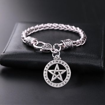 Teamer Punk Supernatural Pentacle Pentagram Charm Bracelets Witch Protection Star Amulet Bracelets Man Jewelry