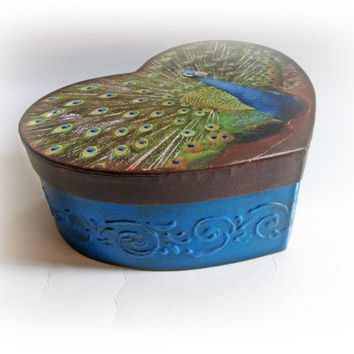Peacock Heart Box. Vintage Peacock Jewelry Box. Peacock Keepsake Box. Peacock Decoupage Box. Peacock Wedding. Peacock Card Box. Money Holder