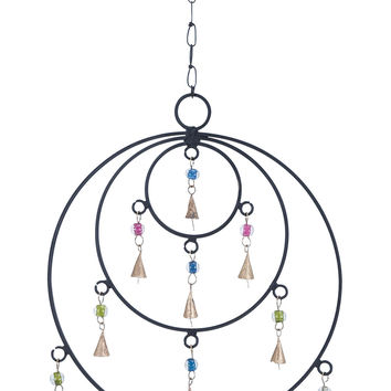 Metal Frame Wind Chime With Circular Design