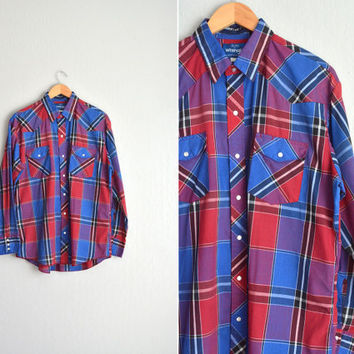 vintage men's '80s PLAID royal blue & red WESTERN WRANGLER long sleeve button-up shirt. size l xl.