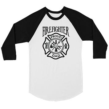 Firefighter Dad Mens Baseball Shirt Strong-Willed Great Dad Gift