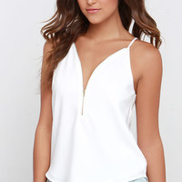 Zip into Chic Ivory Top