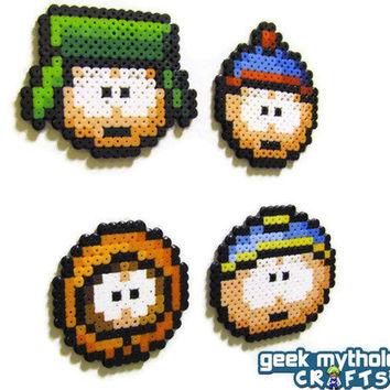 Set of 4 South Park Bead Sprite Decorative Magnets - Stan, Kyle, Kenny, Cartman