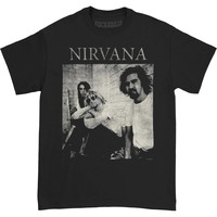 Nirvana Men's  B&W Sitting Photo T-shirt Black