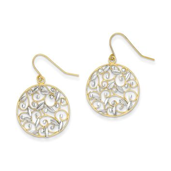 19mm Two Tone Filigree Circle Dangle Earrings in 14k Gold