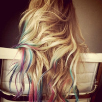 B O L D or pastel colored human hair extension/ clip-in hair/ dip dye ombre (10) FULL set hair extensions