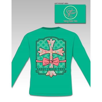 Sassy Frass Preppy Raegan Cross Bow Christian Comfort Colors Long Sleeve Bright T Shirt