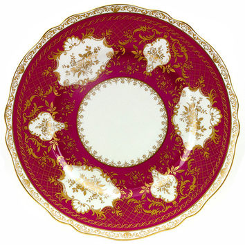 Vintage K & A Krautheim Porcelain Plate Charger SELB Bavaria Germany Burgundy Maroon Gold Medallion Scalloped Edges 1930s China Home Decor