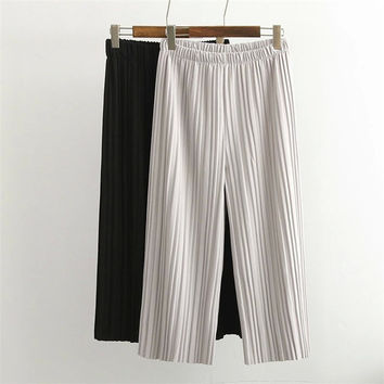 Summer Korean Pleated Chiffon Pants Capri [4920275268]