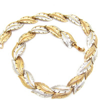 Brushed Silver and Gold Tone Art Deco Necklace Choker 16 Inches Chain Gift Ideas Vintage Jewelry Leaf Design Textured High End Fashion