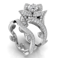 Floral Engagement Set Silver