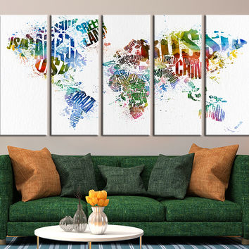 World Map with Country Names Canvas Art Print, Large Wall Art World Map with Country Names Canvas Art Print No:020