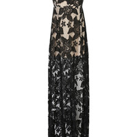 Black Strapless Sheer Lace Maxi Dress