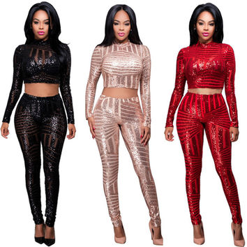 Winter Women Sequined Jumpsuit Mesh See Through Bodysuit Long Sleeve Sexy Party Club Jumpsuits Rompers 2017 Autumn 2 Piece Sets