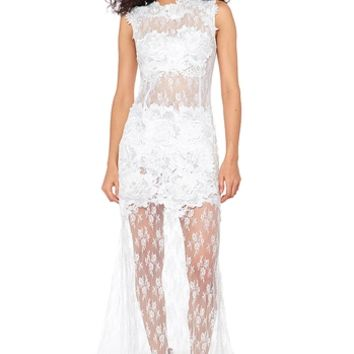 Caribbean Queen Long Lace Dress - Ivory from Caribbean Queen at ShopRoxx.com