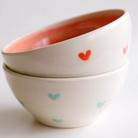Ceramic Nesting Bowls in Mint + Coral Hearts - Set of 2