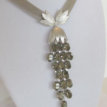 Unsigned 1950 Trifari Mesh Waterfall Necklace and Earrings And Vintage Rhinestones