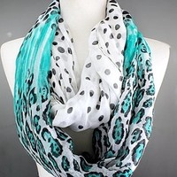 Scarves by Justbella's Leopard Teal Infinity Scarf