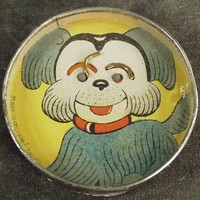 Vintage Dexterity Puzzle Skill Game  - Dog Face with Mirror Back - O.J.