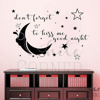 rta231 Lettering Sign Family Good Night Moon Kids Children Babyroom  Living room Bedroom Wall Decal Vinyl Sticker Decals Art Decor Design