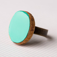 Aqua Green Wooden Ring