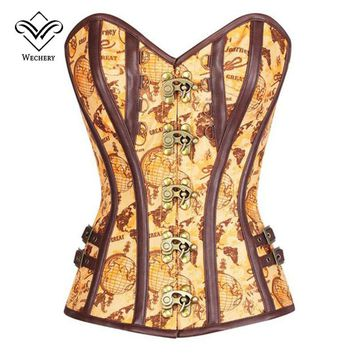 Steampunk Corset Sexy Gothic Korsett Corsets Corselet Corsage Waste Trainer Tan Satin Globe Print Overbust Corset with Thong