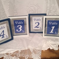 Nautical themed table number frames double sided navy and white frames nautical wedding ocean beach wedding