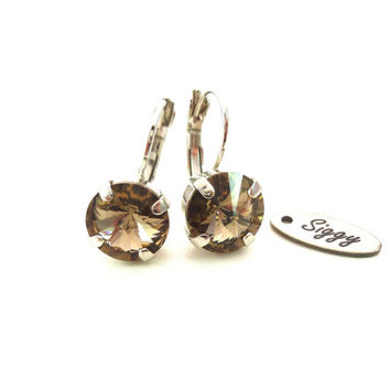 Swarovski crystal earrings, 11mm drop lever backs, greige, GREAT PRICE, Siggy bling, designer inspired