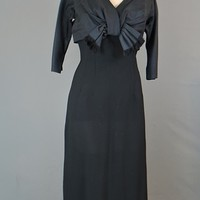 Vintage 1950s Dress Black with Bow - Cocktail Dress - fits 36 inch bust