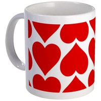 RED HEARTS PATTERN MUG