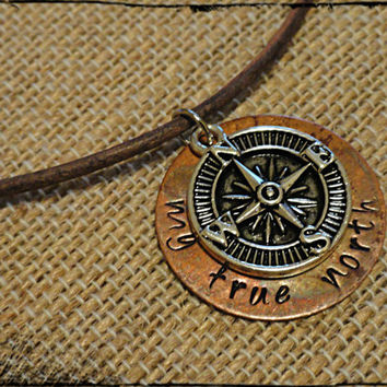 My True North Mens Leather Compass Charm and Copper Disc Necklace