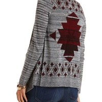 Marled Aztec Print Cascade Cardigan by Charlotte Russe - Black Combo