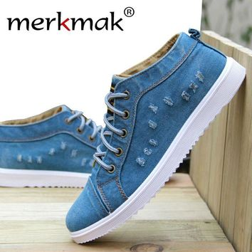 Merkmak Canvas Men Shoes Plimsolls Men Breathable Leisure Men's Flats High-top Lace-up