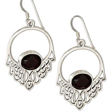 STERLING SILVER OPEN FILIGREE EARRINGS WITH RED GLASS OVAL