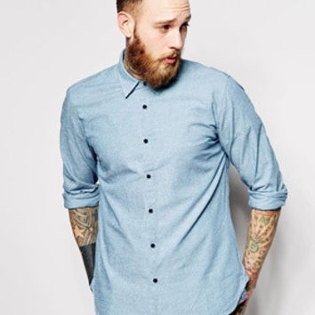 Levi's Made & Crafted Blue Narrow Cut Of Chambray Fabric Aspen Shirt Size 4